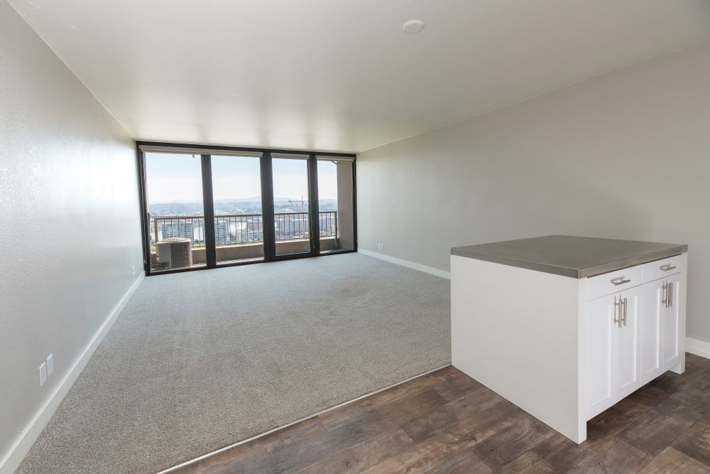 Living room example at Harrison Tower in Portland, Oregon