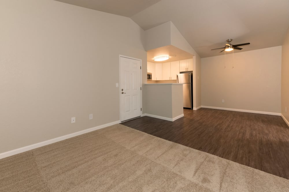 Spacious living room and dining room at Park Ridge Apartment Homes in Rohnert Park, California