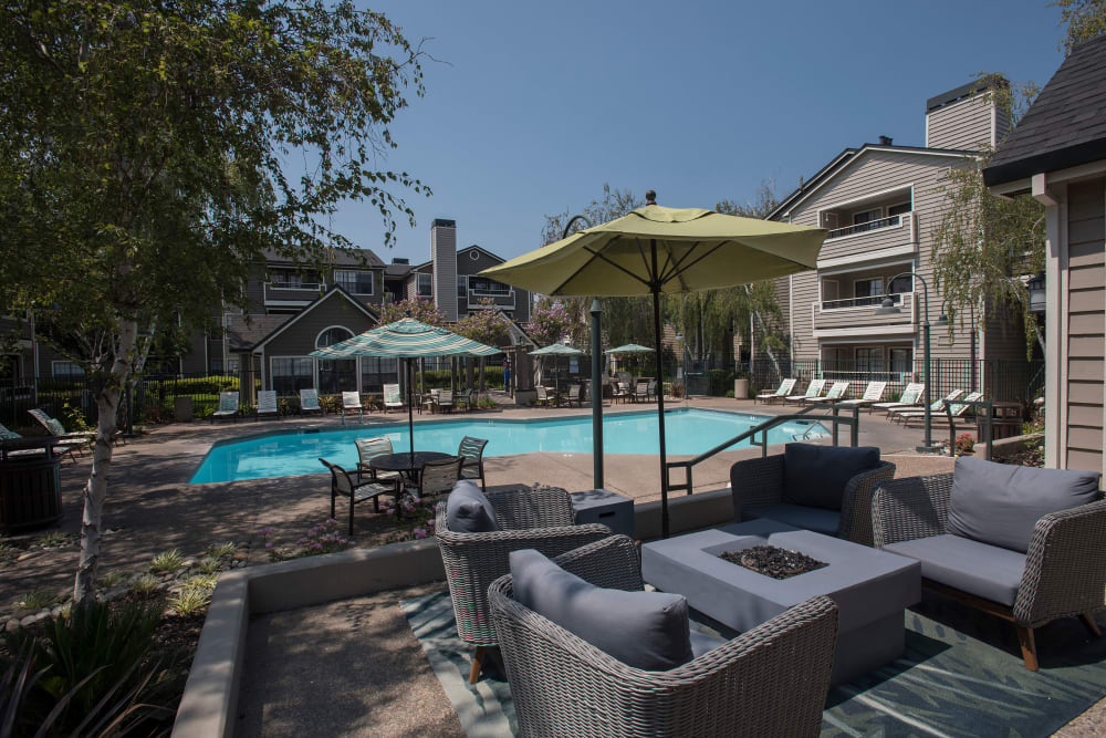 Comfortable outdoor seating with fire pits at The Reserve at Capital Center Apartment Homes in Rancho Cordova, California