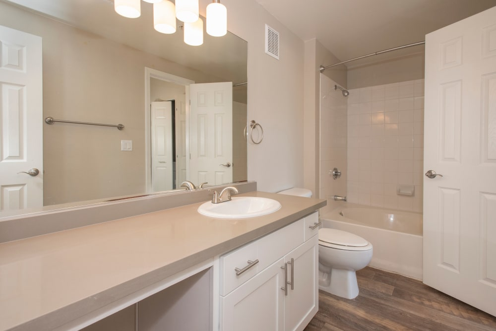 Bathroom with vanity lighting at The Vintage at South Meadows Condominium Rentals in Reno, Nevada