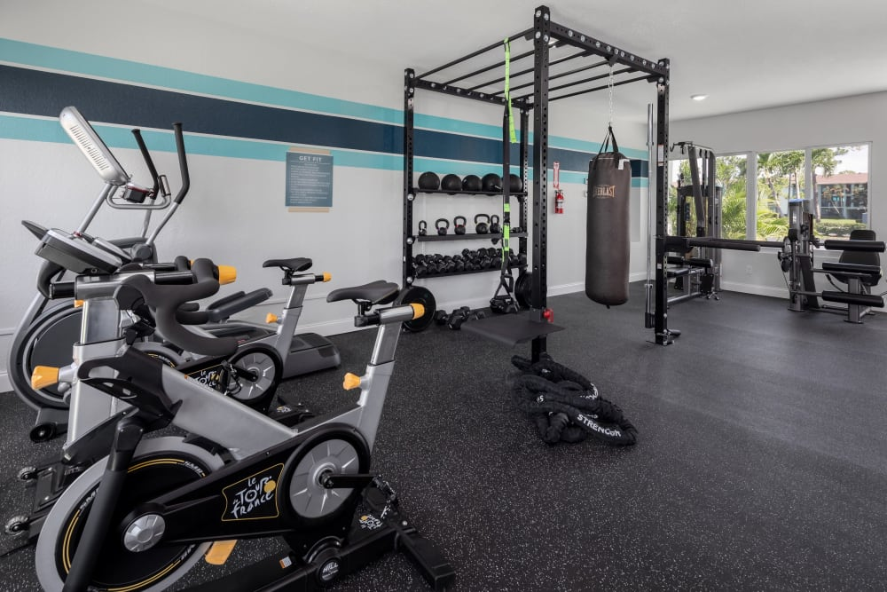 Well-equipped onsite fitness center at Verse at Royal Palm Beach in Royal Palm Beach, Florida
