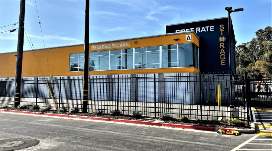Gated security provided at First Rate Storage in Stockton, California