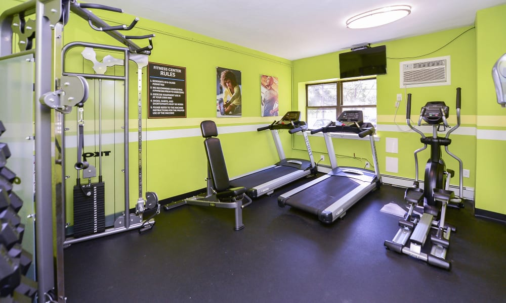 The Colonials Apartment Homes offers a fitness center in Cherry Hill, NJ