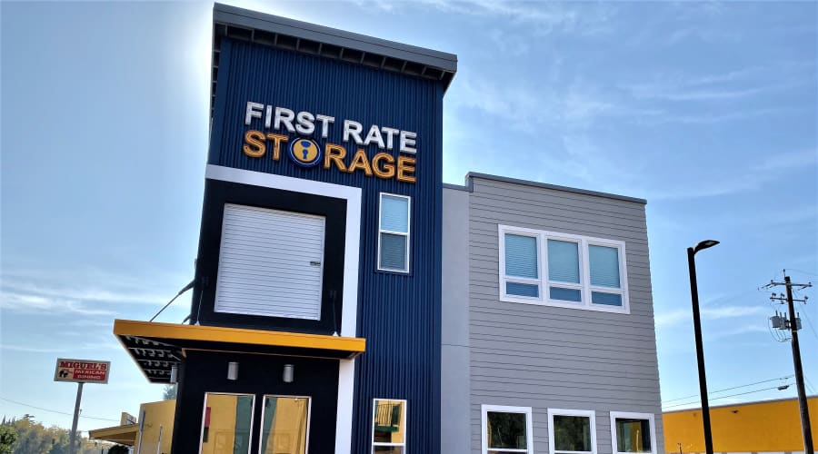 Front office of First Rate Storage in Stockton, California