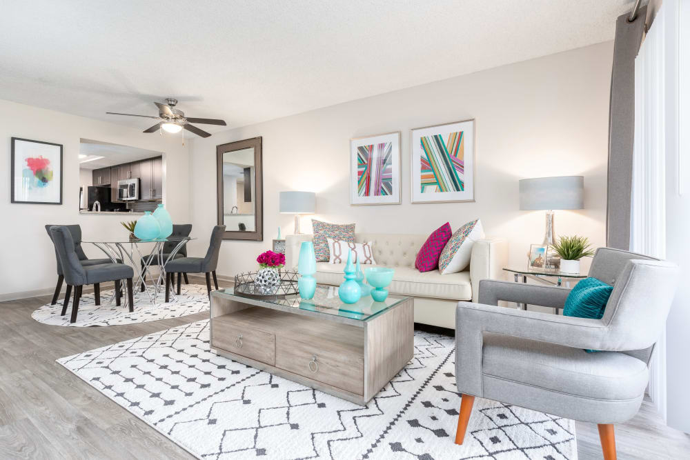 Beautifully decorated model living room at Siena Apartments in Plantation, Florida