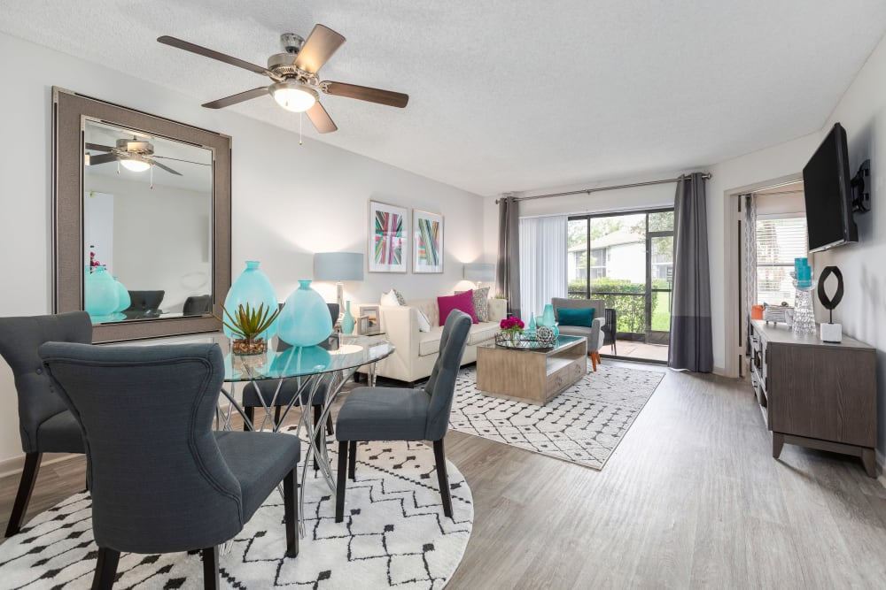 View of the dining area from model home's living room at Siena Apartments in Plantation, Florida