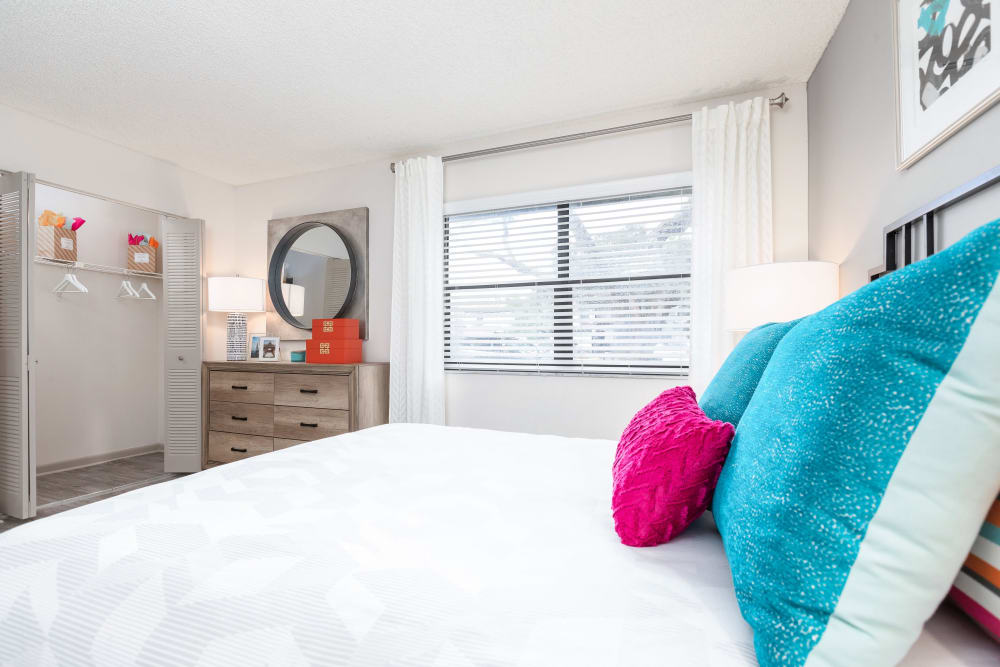 Model home's bedroom at Siena Apartments in Plantation, Florida