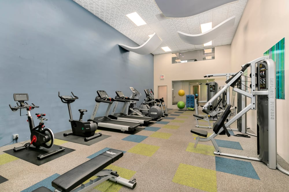 Fitness center with plenty of individual workout stations at Autumn Chase Apartments in Vancouver, Washington