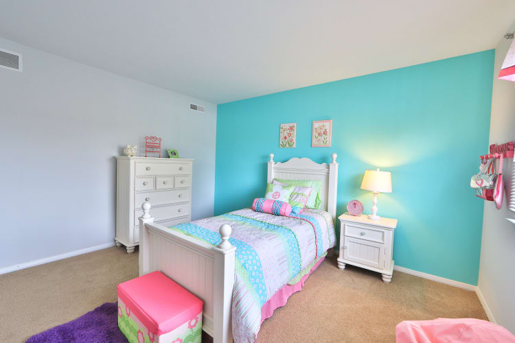 Model bedroom decorated for a child at Willowood Apartment Homes in Westminster, MD