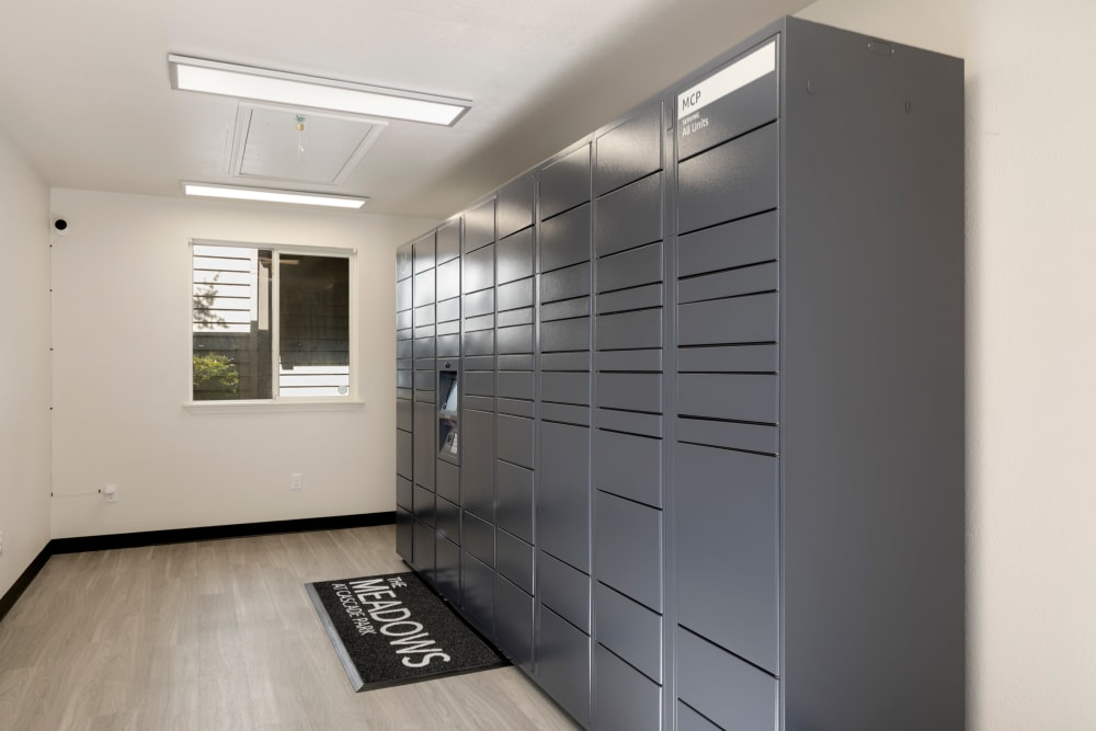 Package lockers at Meadows at Cascade Park Apartments in Vancouver, Washington