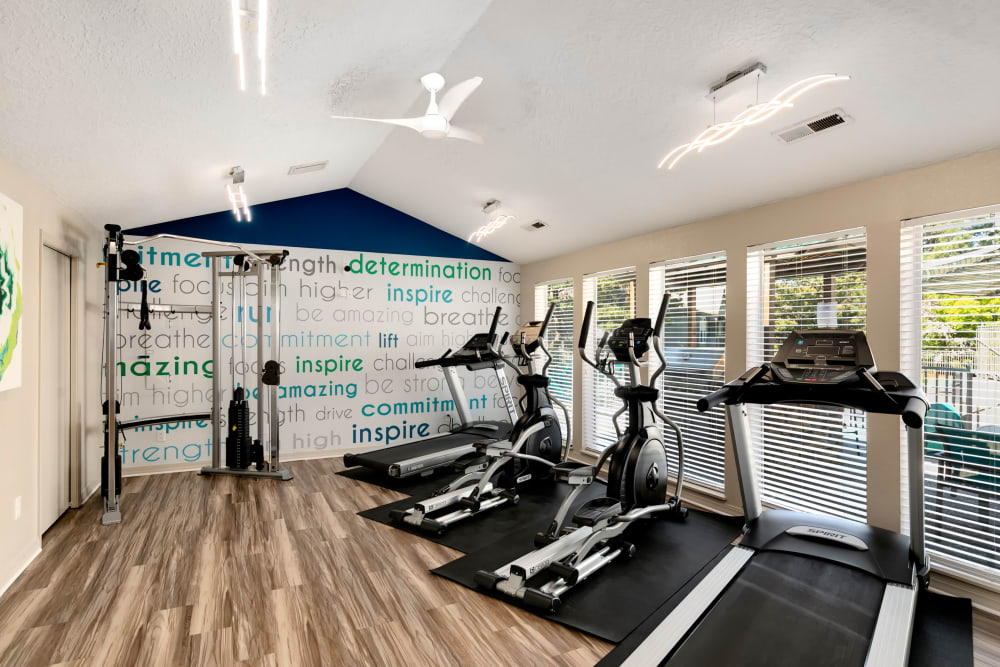 Fitness center with plenty of individual workout stations at Meadows at Cascade Park Apartments in Vancouver, Washington