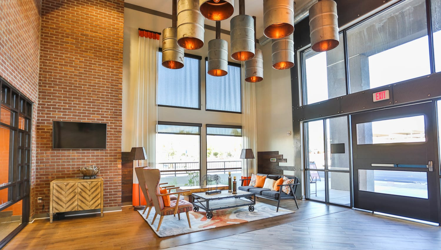 Luxuriously decorated lobby interior at Olympus Steelyard in Chandler, Arizona