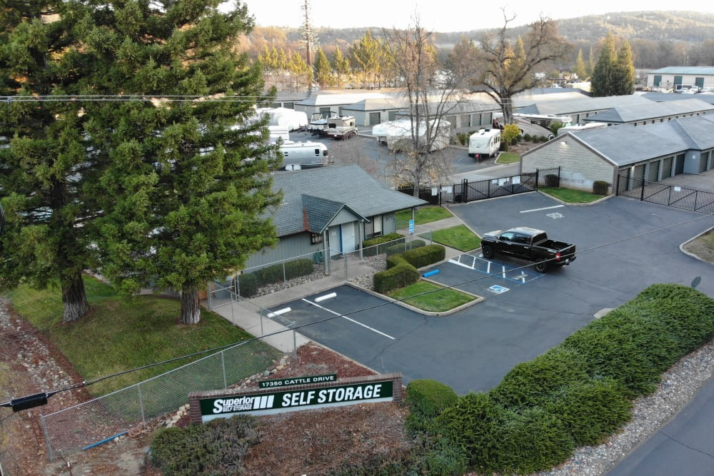 Aerial view of Superior Self Storage in Rough and Ready, California