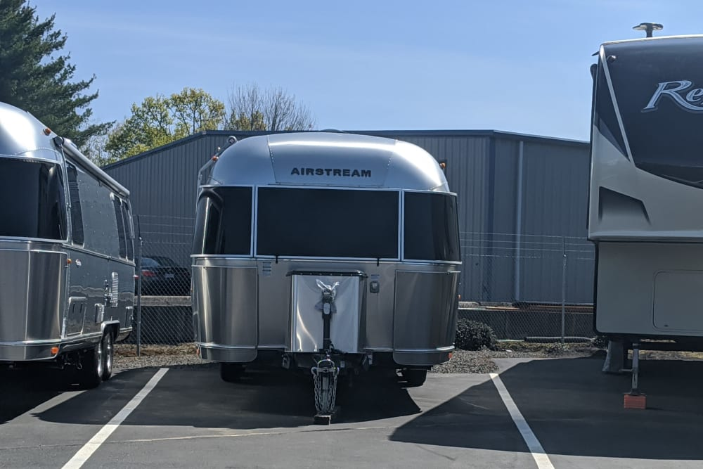 An Airstream being stored at Canby RV & Boat Storage in Canby, Oregon