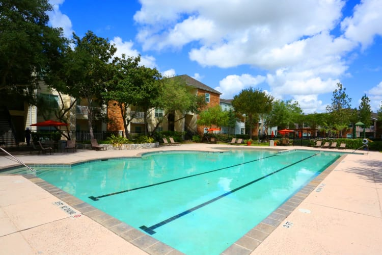 Swimming pool at Cornerstone Ranch Apartments in Katy, Texas