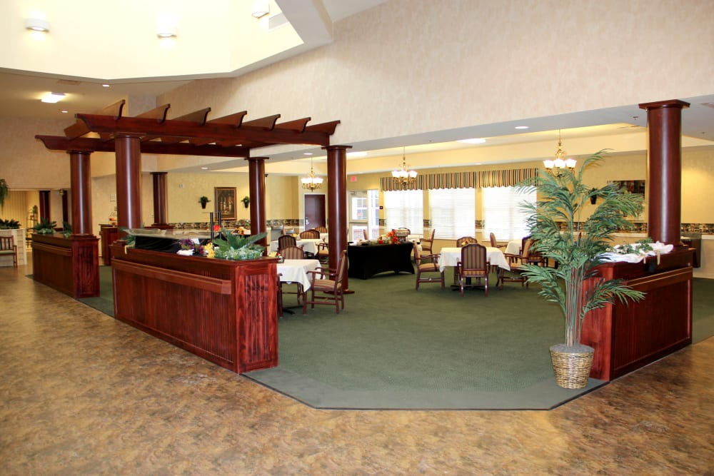 Dining room at Village Green Health Campus in Greenville, Ohio