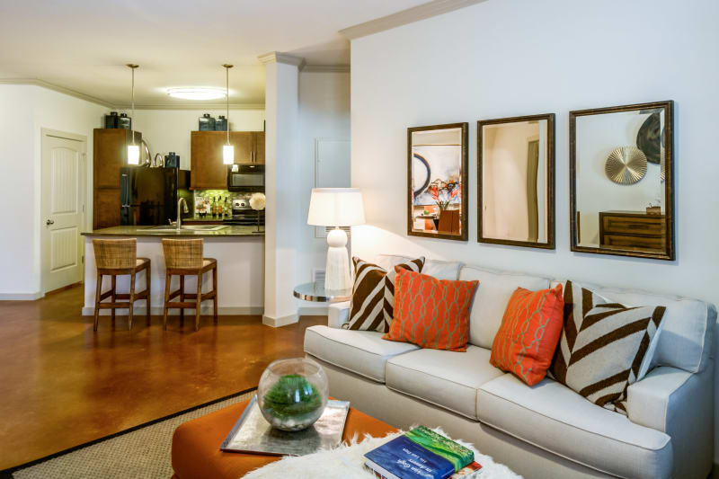 Open concept living room at Firewheel Apartments in San Antonio