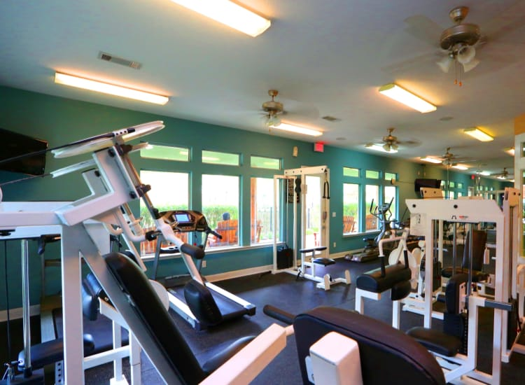 Fitness center at Cornerstone Ranch Apartments in Katy, Texas