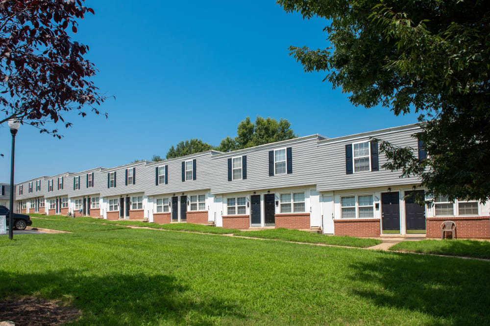 Landscaped apartments at Highland Village in Halethorpe, Maryland