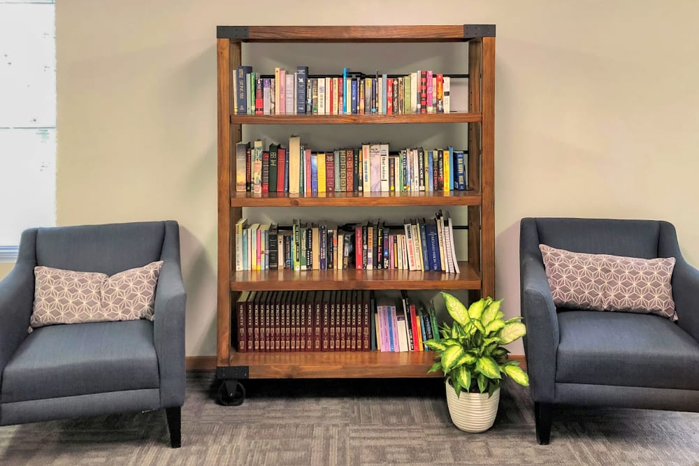 Clubhouse with a small library at Regency Heights in Iowa City, Iowa