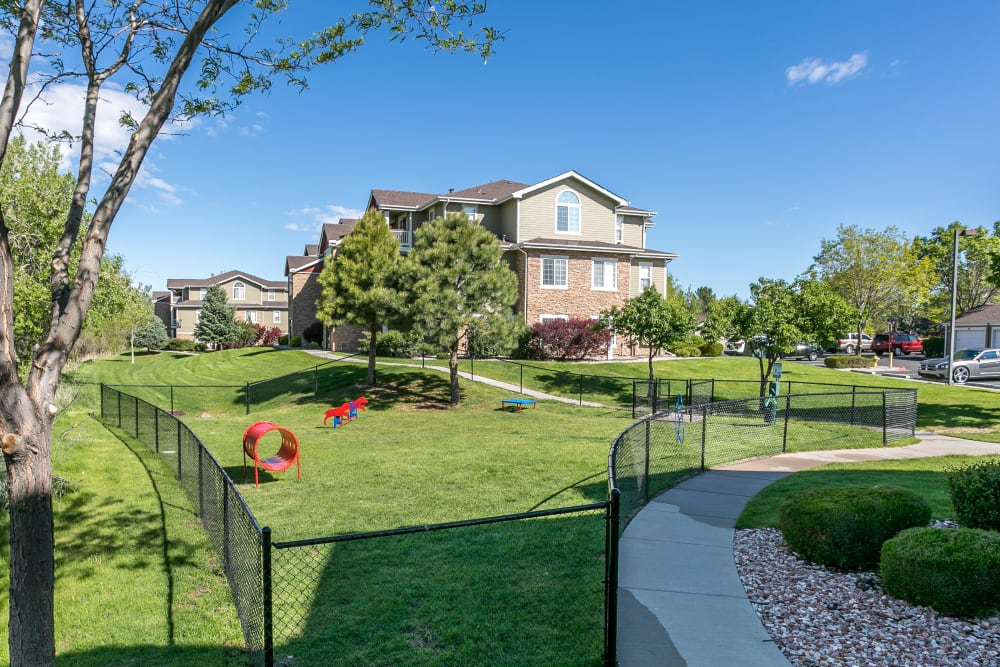 Have fun with your furry friend in the dog park at Westridge Apartments in Aurora, Colorado