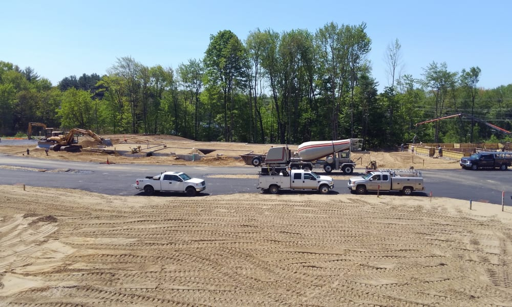 Vehicles at Enclave 50 construction site in Ballston Spa, New York