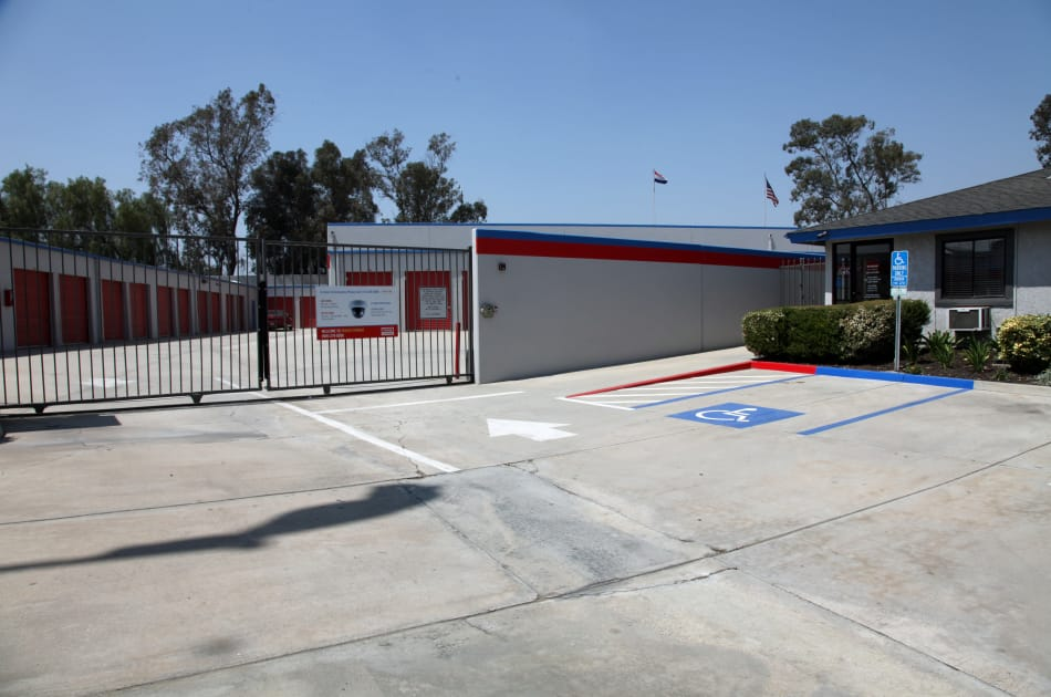 Security gate at Trojan Storage in Colton, California