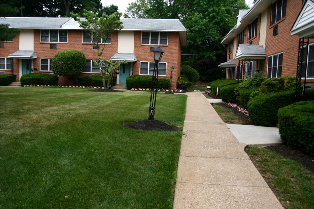 Our outdoor green spaces are immaculate at Haddon Knolls Apartments in Haddon Heights