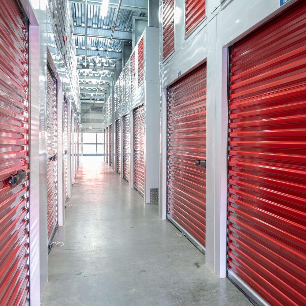Clean and modern storage units with doors closed at Trojan Storage in San Jose, California