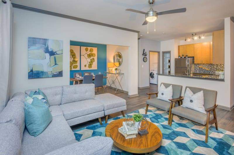 Open concept layout with hardwood floors at Presley Oaks in Charlotte, North Carolina