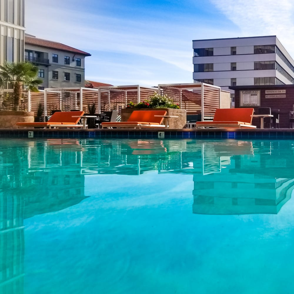 Sparkling swimming pool at Hillsborough Plaza Apartments in San Mateo, California