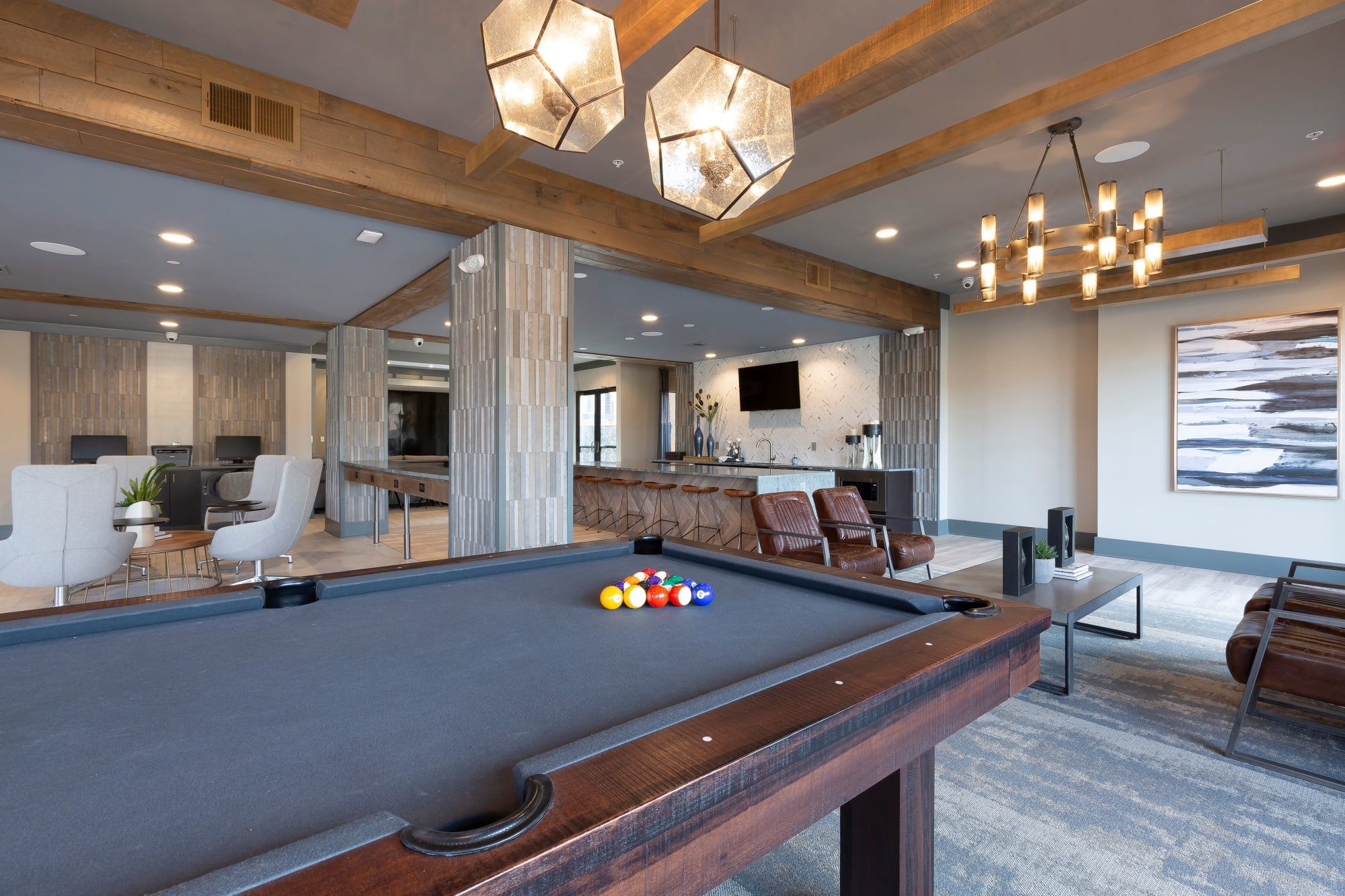 Pool Table at Alta Trinity Green in Dallas, Texas