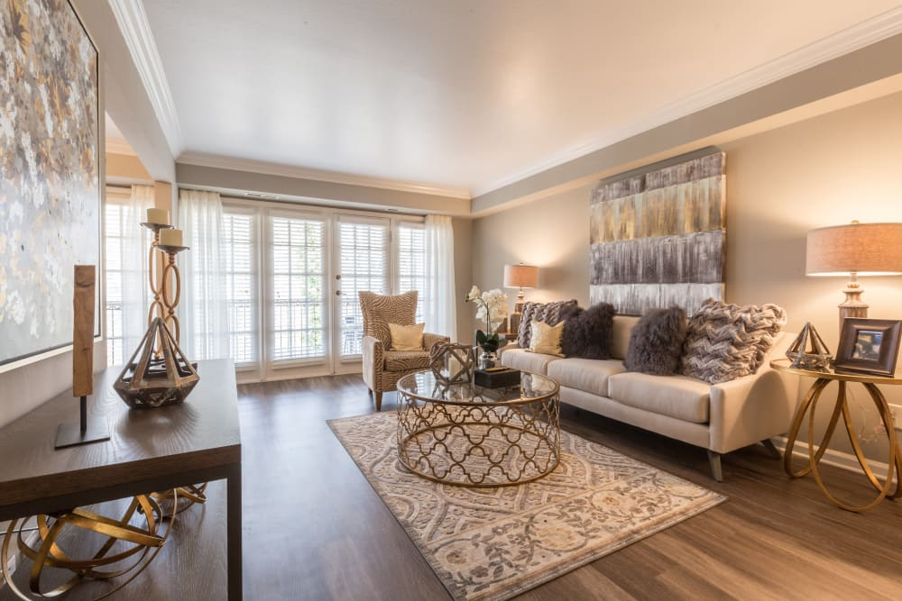 Lovely spacious model living room at The Ashford Apartment Homes in Brookhaven, Georgia