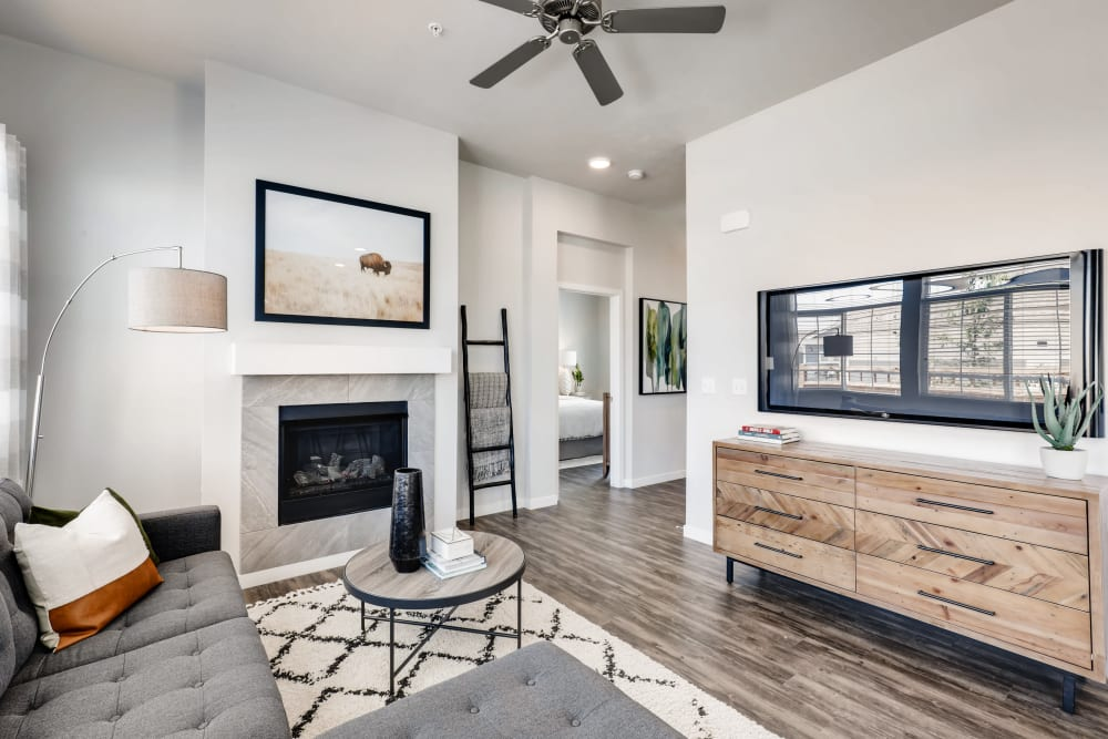 Well-appointed living room at Avilla Buffalo Run in Commerce City, Colorado