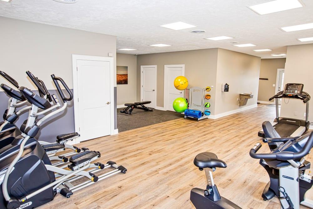 A spacious community gym at Silver Lake Hills in Fenton, Michigan