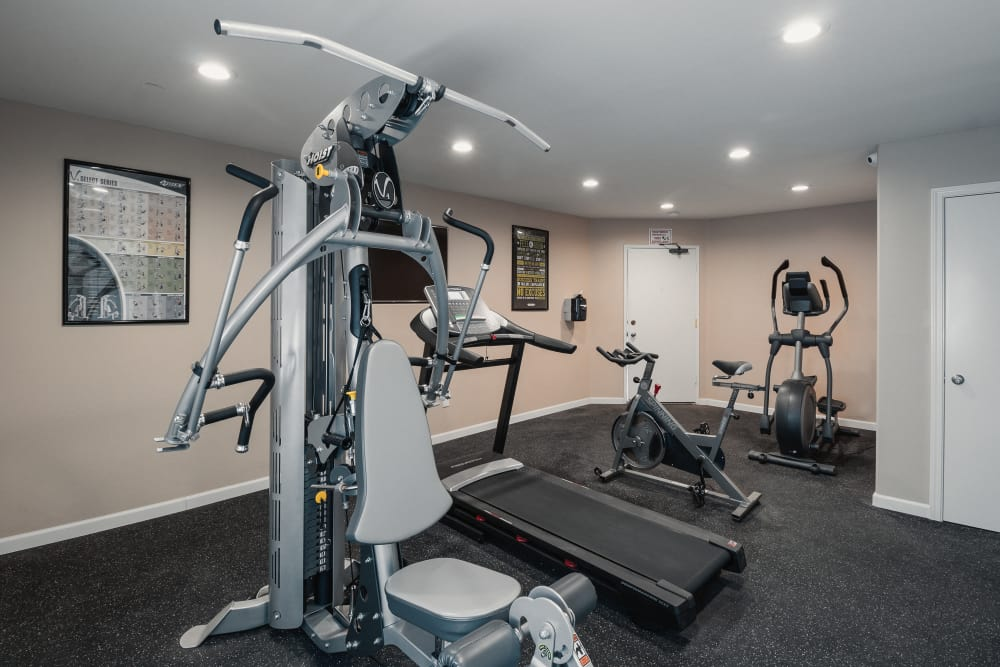 Modern fitness center at The Diplomat in Studio City, California