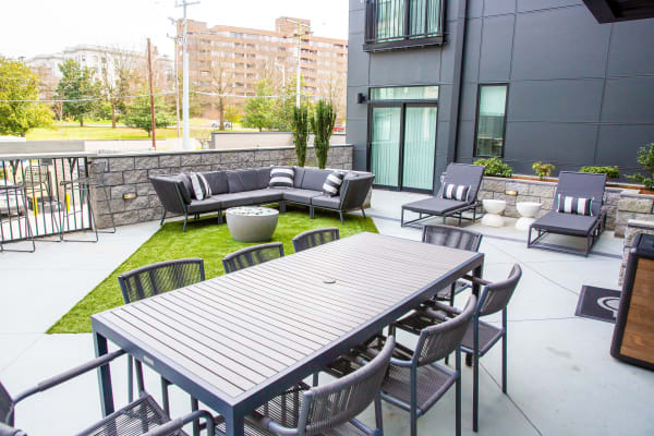 Patio seating at Belcourt Park in Nashville, Tennessee