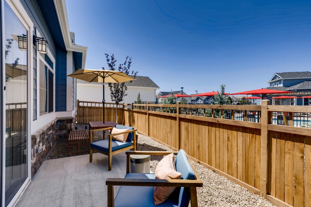 Private patio at Avilla Buffalo Run in Commerce City, Colorado