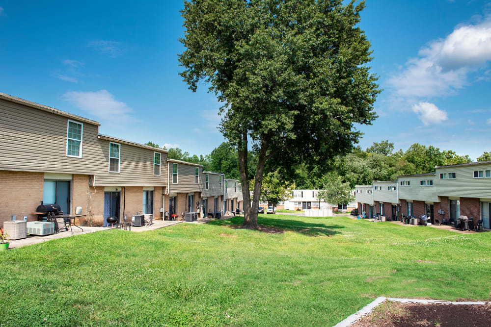 Apartments with a big grassy area at Fontana Village