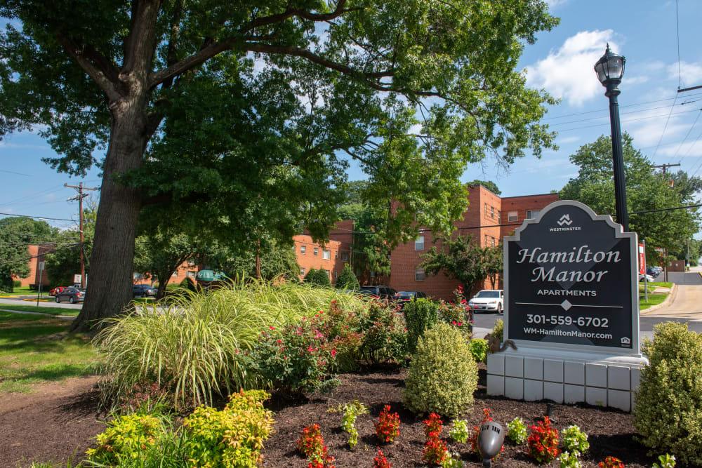 Apartments sign at Hamilton Manor