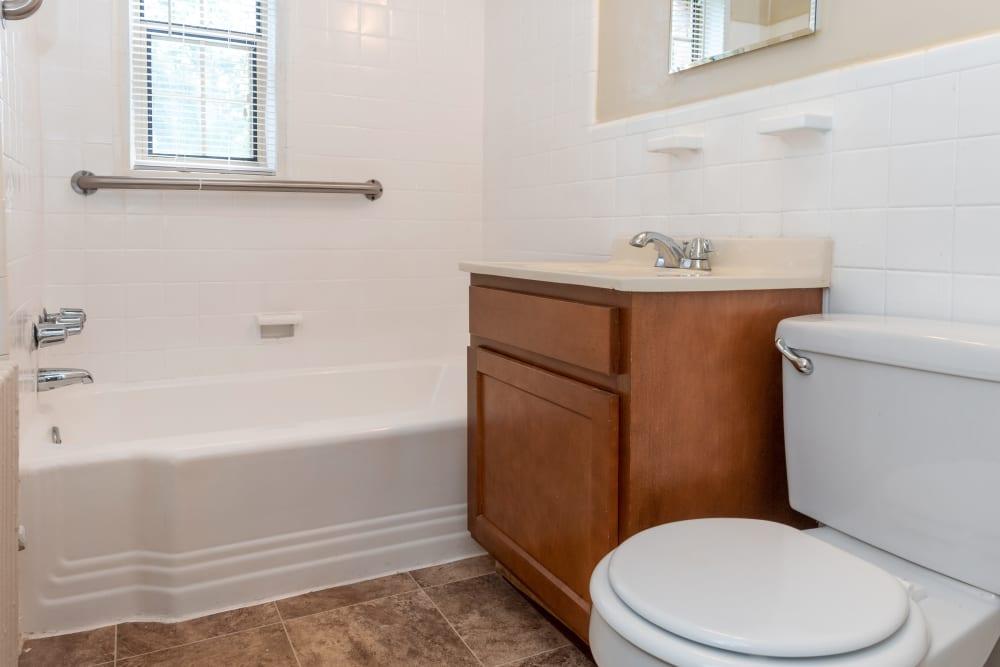 Clean bathroom at apartments in Hyattsville, Maryland