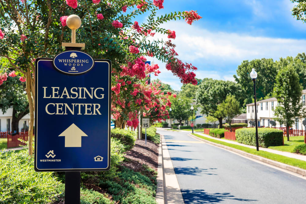 Leasing office sign at Whispering Woods in Middle River, Maryland