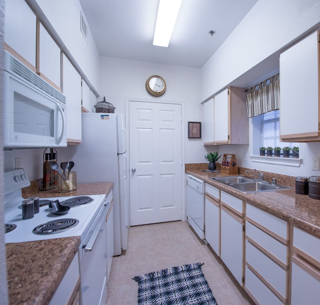 Well equipped kitchen at Arbors of Pleasant Valley in Little Rock, Arkansas