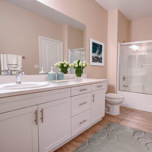 A large bathroom at an apartment at Palisades Sierra Del Oro in Corona, California
