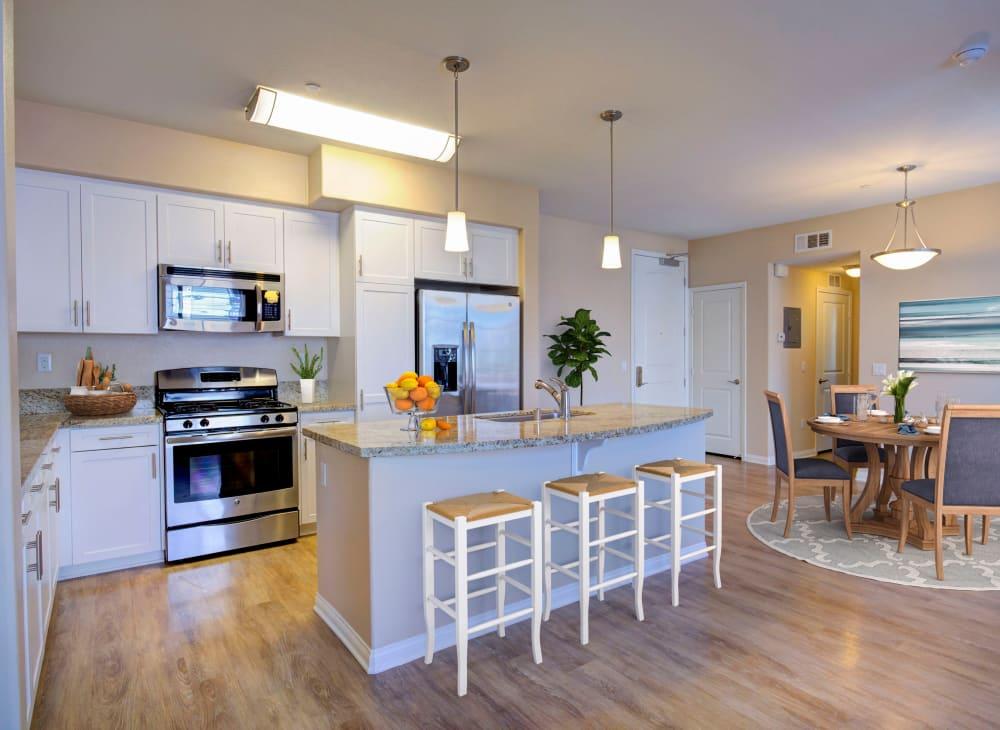 Sleek modern décor in an apartment at Palisades Sierra Del Oro in Corona, California