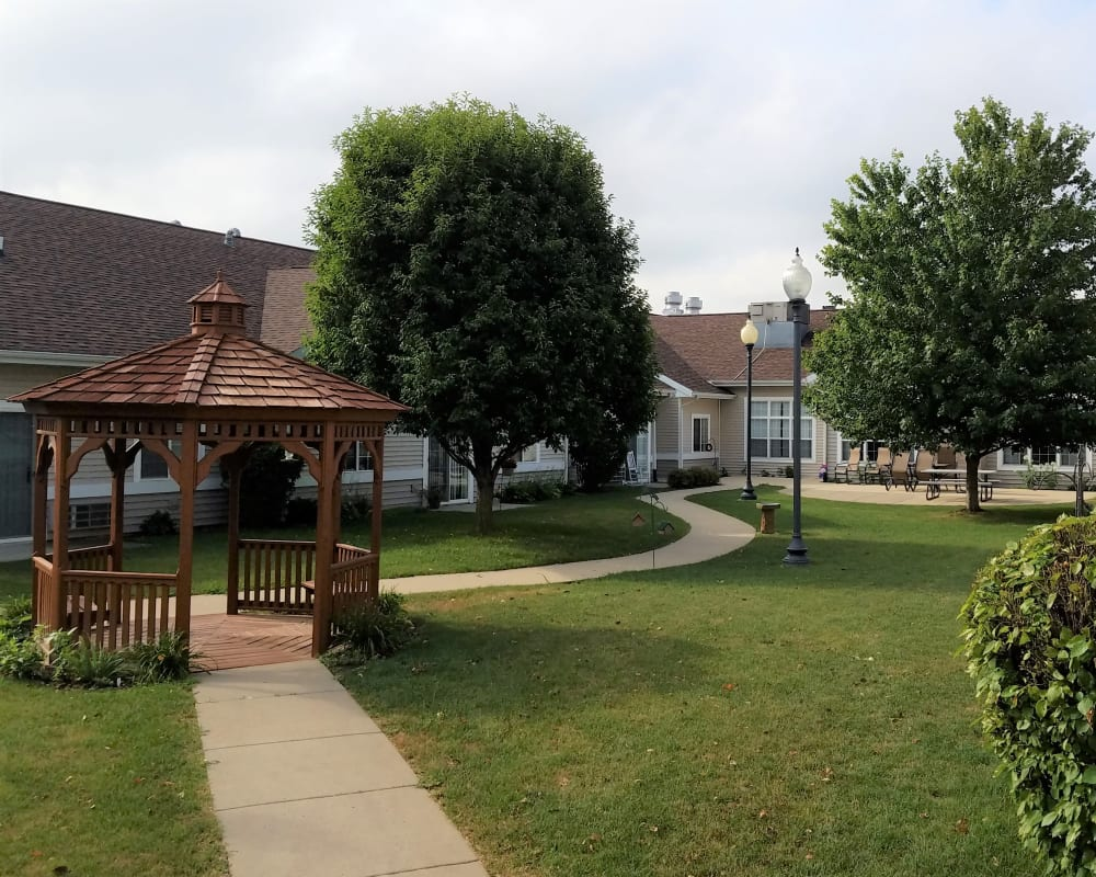 Walking path and gazebo on grounds at Clover Ridge Place in Maquoketa, Iowa.
