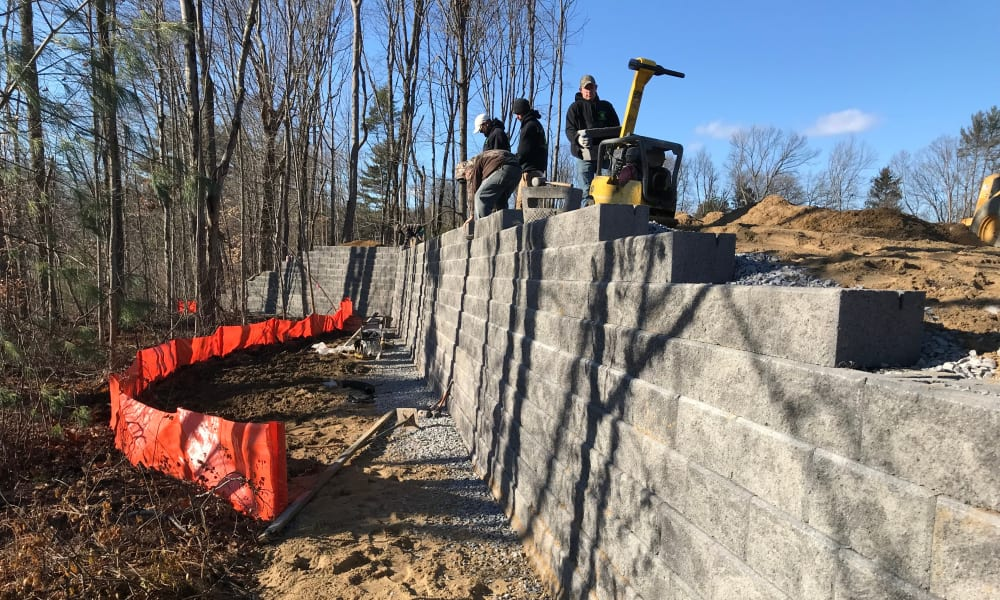 People building a wall at Enclave 50 in Ballston Spa, New York