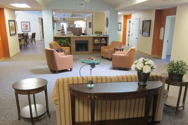 A memory care community common room at Touchmark on West Century in Bismarck, North Dakota