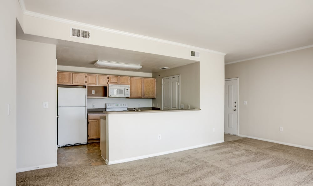 Livingroom and kitchen at apartments in Austin, Texas