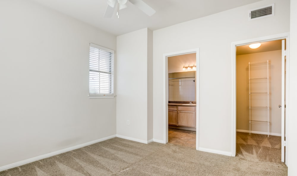 Bedroom with closet and bathroom at apartments in Austin, Texas
